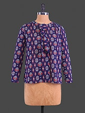 Blue Printed Polyester Tie-up Blouse - Lemon Chillo