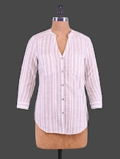 Pink Printed Cotton Linen Look Stripe Shirt - By