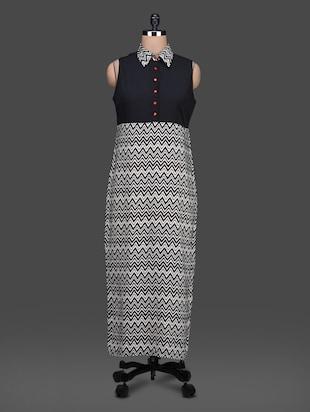 Chevron monochrome print shirt color sleeveless dress