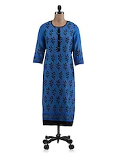 Blue Block Printed Cotton Anarkali Kurti - By