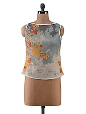 Multicolour Floral Printed Poly Chiffon Sleeveless Top - By