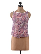 Pink Floral Printed Poly Chiffon Sleeveless Top - By