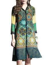 Dark Green Printed Poly Georgette Kurta - By