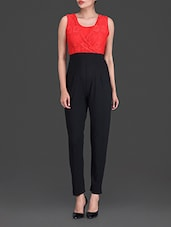 Red Plain Trimmed Lace Poly Spandex Nylon Jumpsuit - By