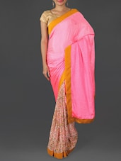 Pink And Beige Georgette Jacquard Saree - Saraswati