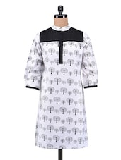 White And Black Cotton Printed Kurti - By - 1184115