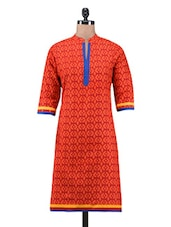 Red Cotton Printed Kurti - By