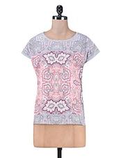Multicolour Digital Printed Cotton Knit Top - PEAR BLOSSOM