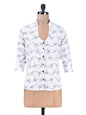 White Bow Printed Polyester Top - PEAR BLOSSOM