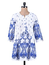 White Printed Cotton Tunic - PEAR BLOSSOM