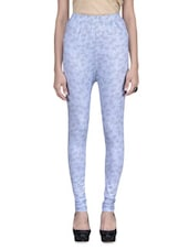 Blue Viscose Knit Printed Leggings - By
