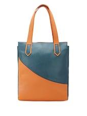 dual tone leatherette tote bag