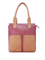 External Zipper Pockets Colour Block Leatherette Handbag - Bagsy Malone