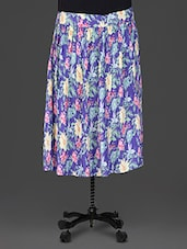 Purple Floral Printed Rayon Short Skirt - GOODWILL
