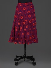 Dark Pink Floral Print Georgette Skirt - By