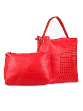 Rivetted Red Leatherette Handbag - SATCHEL Bags