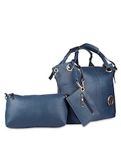 Plain Solid Blue Leatherette Handbag - SATCHEL Bags
