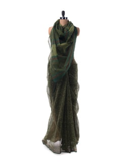 Olive Green Sheer Kota Hand Block Printed Saree - Nanni Creations