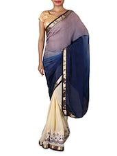 Blue Embroidered Chiffon Party Wear Saree - By