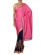 Pink Embroidered Chiffon Party Wear Saree - By