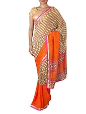 Beige Printed Polka Dots Georgette Fancy Saree - By