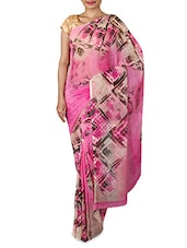 Beige Printed Chiffon Saree - By