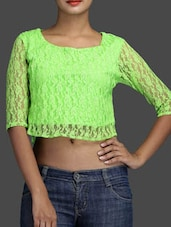 Three Quarter Sleeve Round Neck Green Lace Crop Top - KNOT-ME