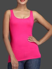 Sleeveless Round Neck Solid Pink Color Top - KNOT-ME