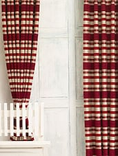 Maroon Striped Jacquard Door Curtain Set - Cortina