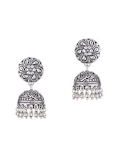 silver metal jhumka earrings -  online shopping for earrings