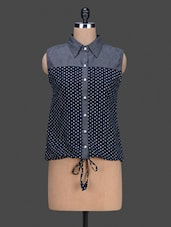 Sleeveless Polka Dot Printed Shirt - By
