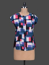 Round Neck Geometric Print Top - Jake Chiramel