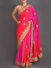 Ombre Georgette Saree With Embroidered Border - Roop Pari