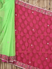 Green And Pink Embellished Georgette Saree - Roop Sha