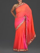 Pink And Orange Embroidered Georgette Saree - Roop Sha