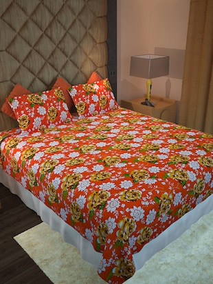 Home Candy Orange Floral Cotton Double Bed Sheet with 2 Pillow Covers- 144 tc