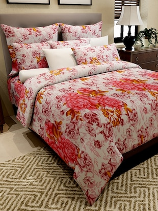Home Candy Enticing Floral Cotton Double Bed Sheet with 2 Pillow Covers- 144 tc