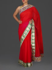 Red Georgette Saree With Gota Patti Work - Roop Varsha