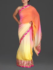 Yellow Shaded Embroidered Georgette Saree - By
