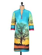 Multicolour Digital Printed Cotton Kurti - By