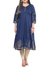 Blue Foil Printed Cotton Kurta - By
