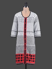 Geometric Print Round Neck Cotton Kurta - By