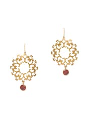 Gold Plated Stone Embellished Sterling Silver Drop Earrings - By