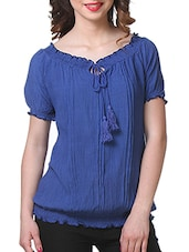Dark Blue Rayon Top - By