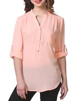 Plain solid roll up sleeves rayon Top -  online shopping for Tops