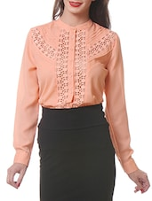 Peach Lace Inset Button Down Shirt - By