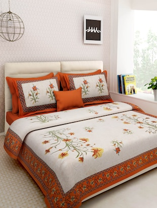 Multicolored Screen Block Print Rajasthani Double Bed sheet set