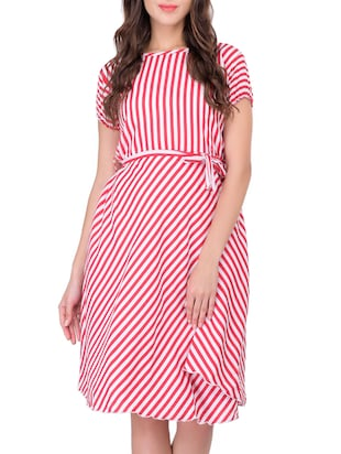red and white poly crepe striped belted dress