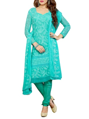 blue georgette embroidered dress material