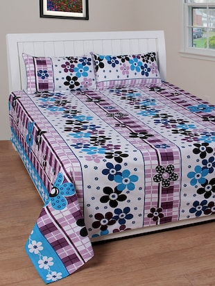 white floral print cotton double bed cover